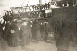 Canadian Army Medical Corps Nursing Sisters embarking for from Victoria BC on their way to England