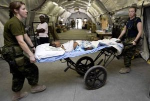 Patient being transported in 1 Canadian Field Hospital in Haiti