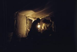 Casualty care by lantern in 4 Field Ambulance Evacuation Station, Germany, circa 1985