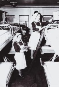 Royal Canadian Army Medical Corps Nursing Sisters aboard a hospital ship