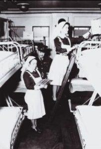 Royal Canadian Army Medical Corps Nursing Sisters aboard a hospital ship