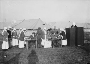 Canadian Army Nursing Sisters voting oversea 1917