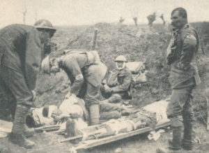 Wounded receiving initial care in trench prior to evacuation rearward