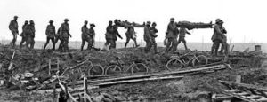 Stretcher Bearers carry wounded from battlefield