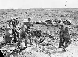 Stretcher Bearer assist wounded from battlefield