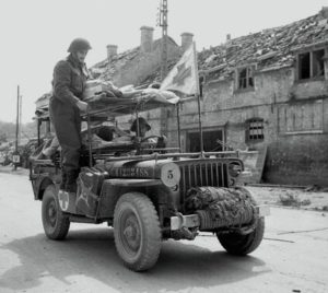 Casualties being transported by jeep ambulance in Italy