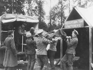 Wounded arrive at CAMC Casualty Clearing Station