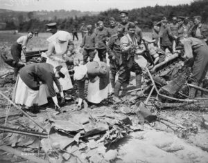 Nursing Sisters viewing the remains of a German Gotha bomber