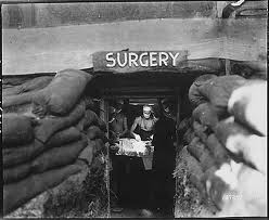 Surgery in a sandbagged bunker in Korea