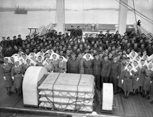 RCAMC Nursing Sisters and other medical staff on board hospital ship Letitia WW II