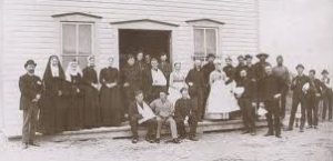 Medical staff outside Moose Jaw field hospital during North West Campaign. Pictured are both lay nurses and religious sisters, the latter were mainly engaged in the provision of convalescent care