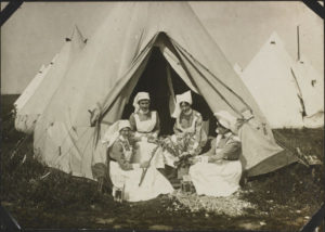 Canadian Army Medical Corps nursing sister taking a break at No 2 General Hospital Le Treport, France