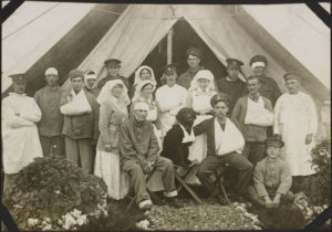 Nursing Sisters wit hsome patients and staff at No 2 Canadian General Hospital Le Treport France