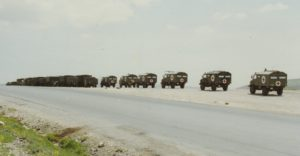 "4 Field Ambulance on road move en route to ""Tent City"" in Slopi on Turkey/Iraq border"