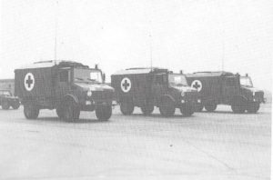 "4 Field Ambulance Mercedes Benze Unimog Ambulances, Lahr, Germany, circa 1986 Source: Demmer,Edmmund. ""Outstanding Support in Peace and War."" Lahr, Germany: 4 Field Ambulance, 1992."