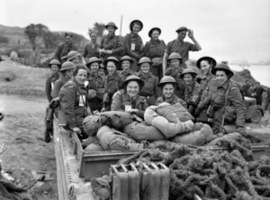 Nursing Sisters of No. 10 Canadian General Hospital, R.C.A.M.C., landing at Arromanches, France, 23 July 1944, about six weeks after D-Day.