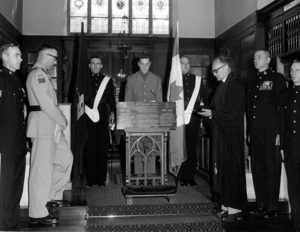 1 Field Ambulance dedication of CAMC/RCAMC/LCol John McRae memorial plaque in St George's Chapel, Ypres, Belgium, 1966