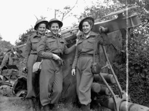 The first nursing sisters of the Royal Canadian Army Medical Corps to land in France after D-Day. France, July 17, 1944. Source Library and Archives Canada