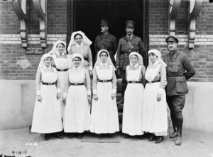 Nursing Sisters in front of a Casualty Clearing Station.